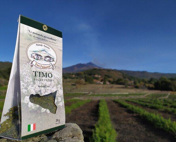 Timo siciliano. Coltivato secondo una forma di agricoltura sostenibile a basso impatto ambientale