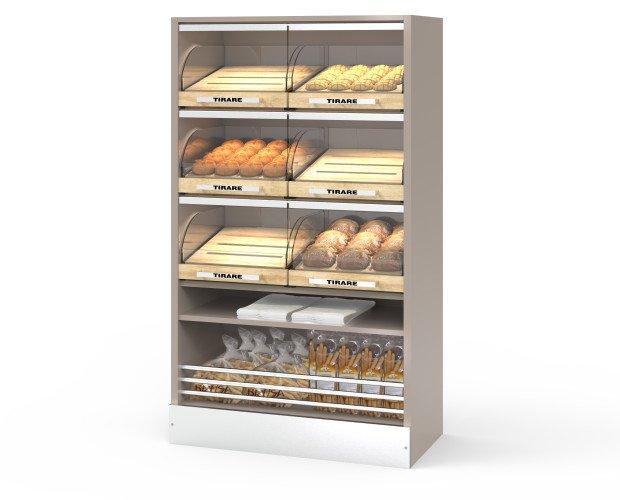 Bakery Smart. Espositore self-service per il pane con cassetti chiusi da cristallo temperato.