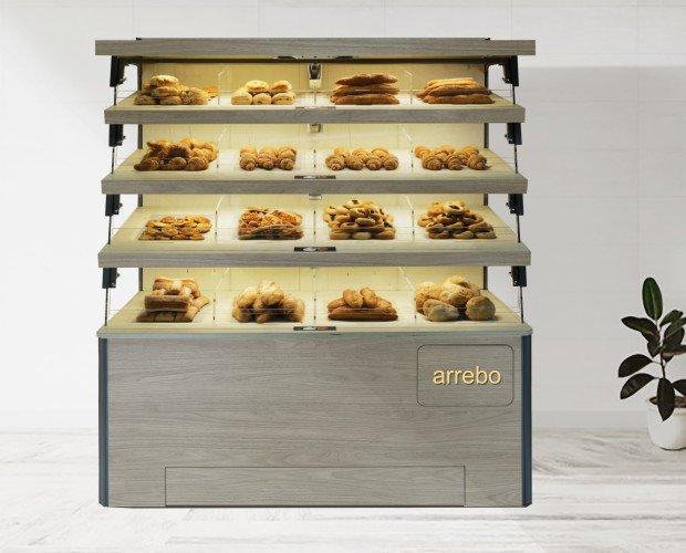 Bakery_Touch_. punti di forza dell'espositore Bakery Touch :alto impatto emozionale per il cliente,l'espositore è in grado di valorizzare i prodotti specialistici ( come focaccia, pizzette, dolci, ecc.) dando un alt
