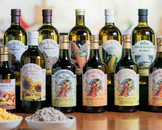 Oli pregiati CONVENZIONALI E BIO. oli di semi (mais, girasole, sesamo, vinacciolo, mandorle) e di oliva e.v.