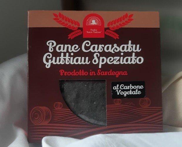 speziato C.Vegetale. pane carasau speziato al carbone vegetale con astuccio formato da 250 gr