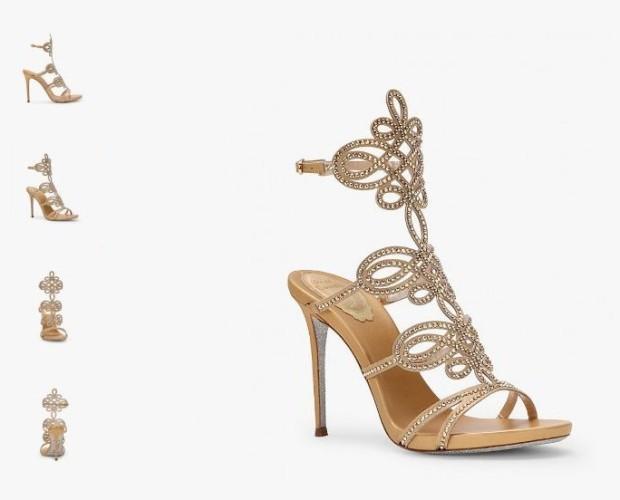 Scarpe da Cerimonia.Sandalo in satin gold con tacco a stiletto 10,5 cm e suola glitter