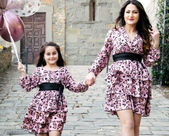 Abito rosa. Abbigliamento Coordinato mamma figlia yuniko