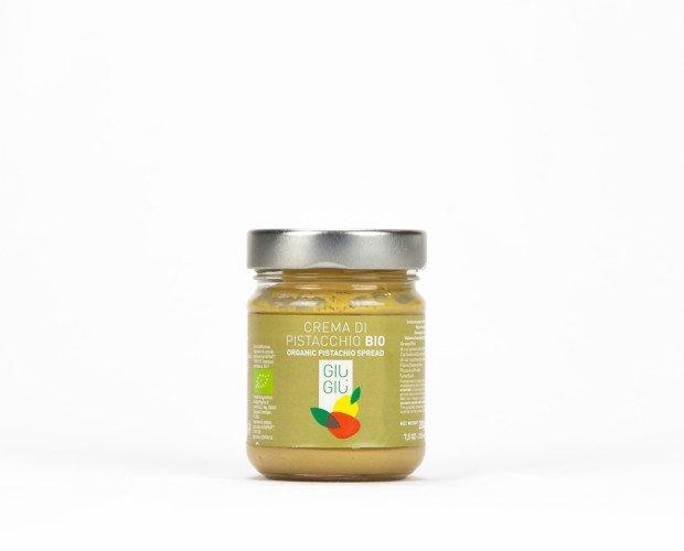 0078916. GIU' GIU' CREMA DI PISTACCHIO BIO GR200. Prodotta con ingredienti naturali, senza aggiunta di conservanti e aromi artificiali.