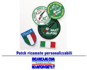 Patch ricamate. Patch ricamate bandiera italiana, personalizzabili, varie forme e dimensioni