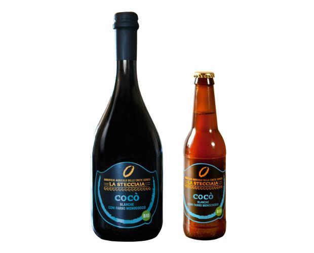 Birra. Bottiglie di Birra con alcol. Birra aromatizzata con scorze di bergamotto