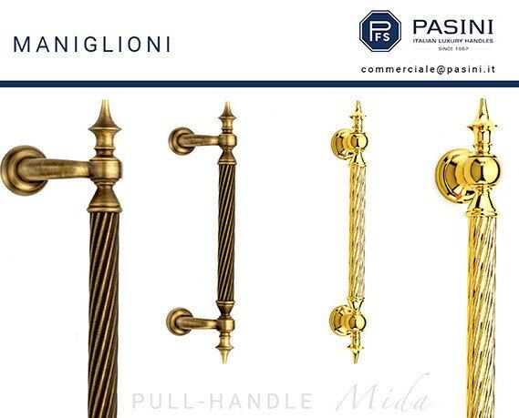 Maniglioni per portoni esterni. Maniglioni Mida in ottone puro per portoni antiche, finiture bronzo-yester e oro PVD.