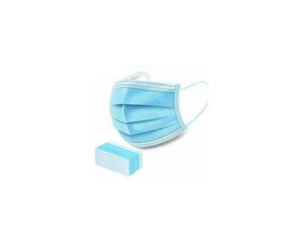 Mascherina monouso. Mascherina monouso in TNT 3 strati ed elastici laterali. Dispositivo di protezione.