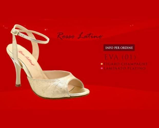 Calzature Eva (01). Modello: Figaro Champagne, Laminato Platino