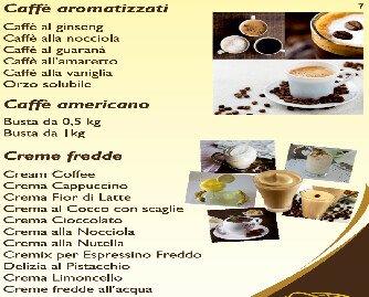 Caffè aromatizzati e creme fredde. disponibili anche Crema gianduia Crema caffè Crema yogurt
