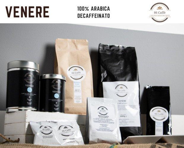 CAFFE' MISCELA VENERE. Caffè decaffeinato miscela Venere 100%arabica. Grani, macinato moka, capsule e cialde.