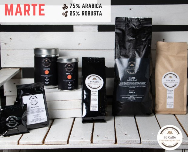 CAFFE' MISCELA MARTE. Caffè miscela Marte 70%arabica-30%robusta. Caffè in grani, macinato moka, capsule e cialde.
