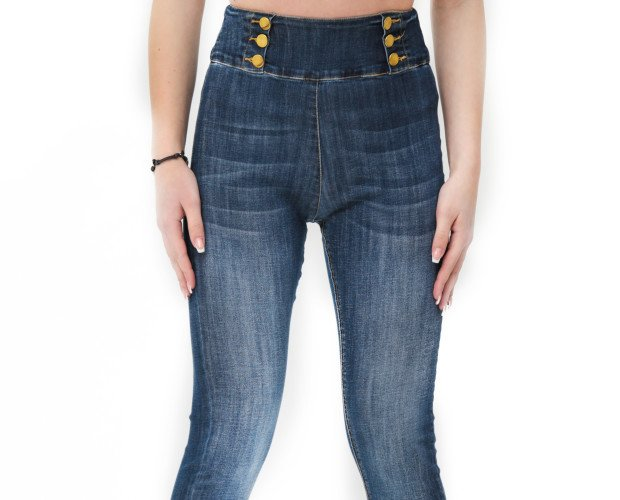 BW2303. JEANS SUPER STRETCH SKINNY FIT VITA ALTA DETTAGLIO:BOTTONE DORATO