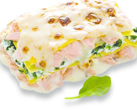 Lasagne al Salmone. Lasagne da rinvenire al microonde in 4 minuti .Confezioni da 350 gr.