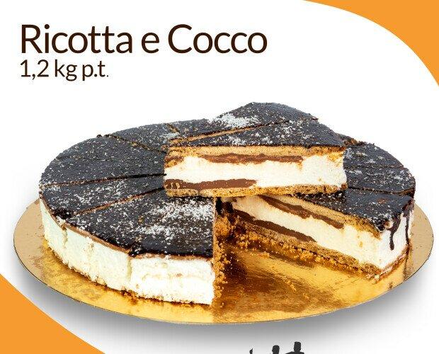 Ricotta e cioccolato nut. Impasto di ricotta al 60% con farina di cocco e cioccolato e racchiusa in due biscot
