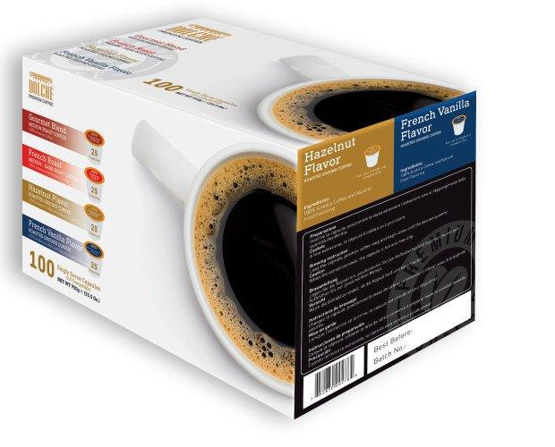 Variety 4 - K-cups. 100 capsule di caffè Aericano, 4 varietà: Gourmet, French Roast, Hazelnut e Vanilla