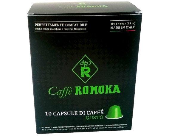 Capsule Romoka Gusto. La qualità del Caffè Romoka in una capsula monodose. Scatole da 100 e da 10