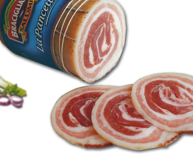 La pancetta. Prodotta con carni selezionate