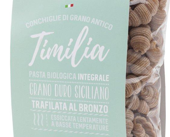 conchiglie Timilia. Pasta secca di sfarinato integrale biologico di antico grano duro siciliano Timilia