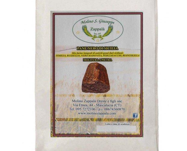 mix pane nero. Miscela di farine integrali di antichi grani duri siciliani: TUMMINIA, RUSSELLO, NERO MADONITA, PERCIASACCHI E BIANCOLILLA
