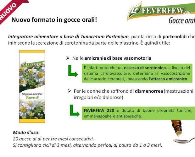 Feverfew gocce orali. antinfiammatorio, emicrania, dismenorrea