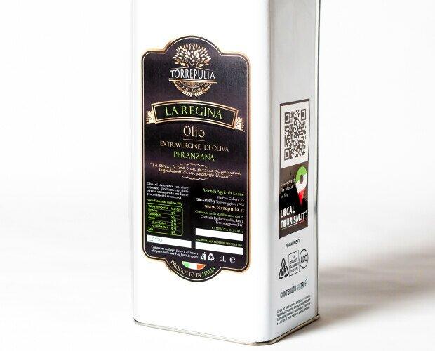 Olio Evo La Regina - 5L. Olio extravergine di oliva monovarietale: Peranzana.