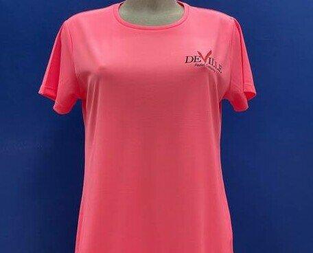 Maglietta Padel Rosa Donna. Maglietta padel rosa da donna in tessuto traspirante