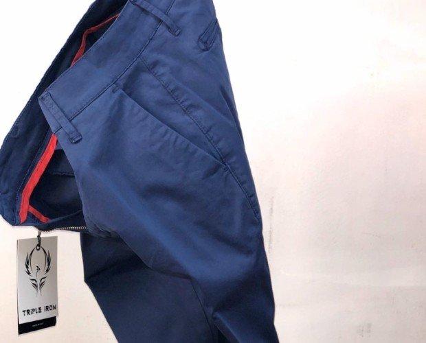 pants20. pantalone raso di cotone elasticizzato slim fit blue, bianco, verde, beige, nero.