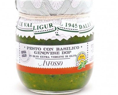 Pesto al basilico DOP - Anfosso. Pesto al basilico DOP senza aglio in olio EVO