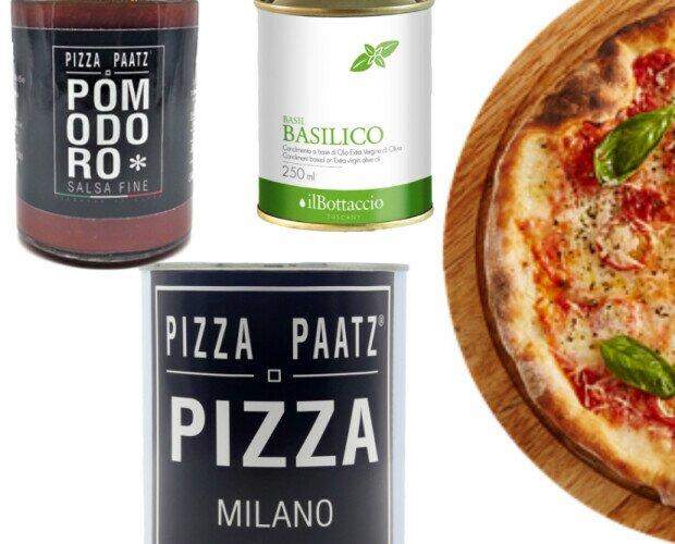 Kit per pizza. Miscela di farine italiana per pizza, sugo pronto ed evoo con basilico