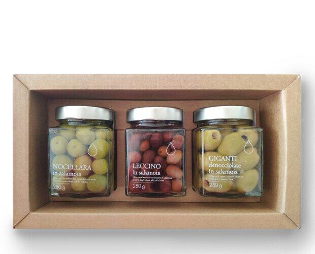 Confezione regalo olive. Confezione regalo di olive toscane