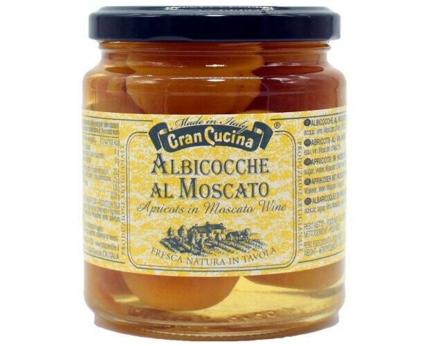 Albicocche al Moscato Gran Cucina. Albicocche conservate nel vino Moscato.