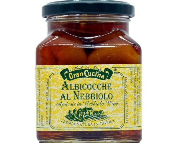 Albicocche al Nebbiolo Gran Cucina. Albicocche italiane conservate nel vino Nebbiolo. Ottime servite come dessert