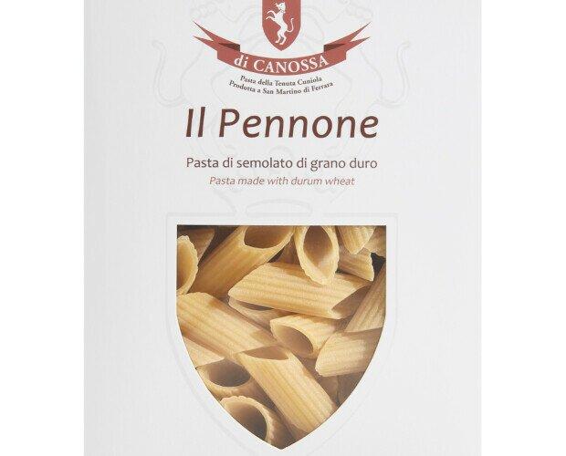 Il Pennone Pasta di Canossa. Pasta di semola di grano duro semintegrale, 100% grano italiano trafilata al bronzo