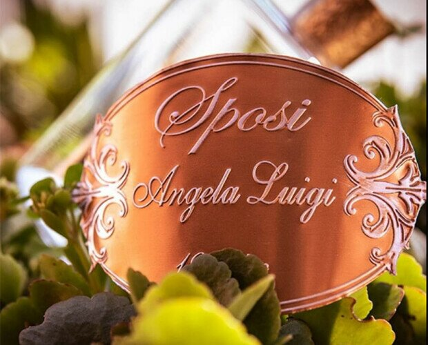 Etichetta per Eventi. Etichette in metallo personalizzate per matrimoni ed eventi