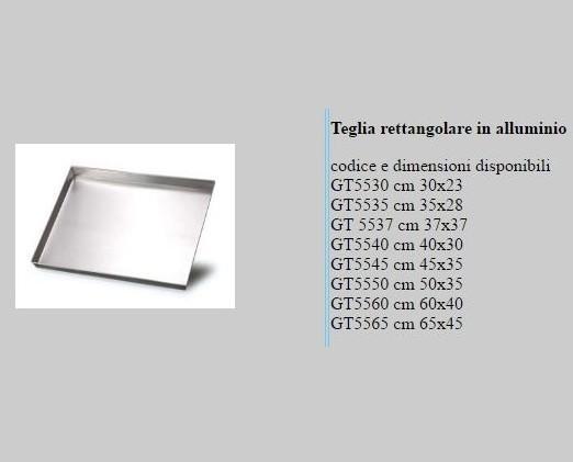 Teglie rettangolari . Prodotte in Alluminio.