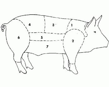 . I diversi tagli della carne di suino.