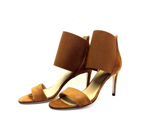 FEM04-€ 55 min. 6 pz. Sandalo in vera pelle con elastico , tacco 80 mm ricoperto camoscio . Suola in vero cuoio .