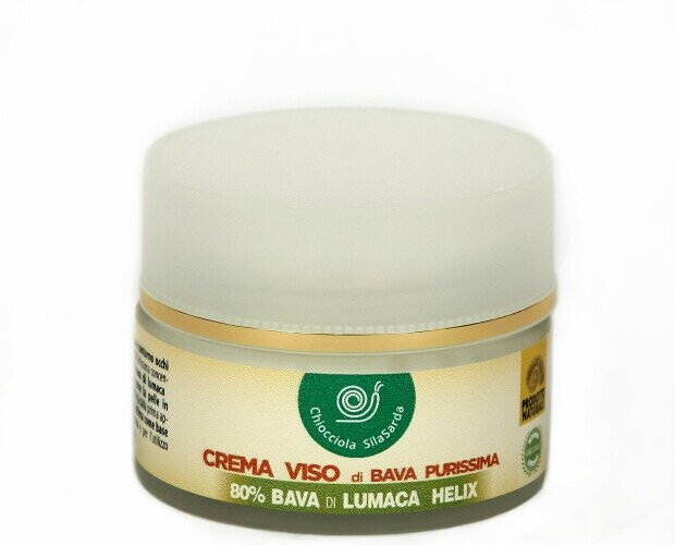Crema Viso 80% bava di lumaca. Idonea per inestetismi come acne, pelli impure, macchie cutanee, segni cicatrici.