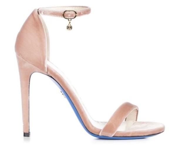 Sandalo in Velluto. Rosa (con dettagli in oro) con tacco a spillo.