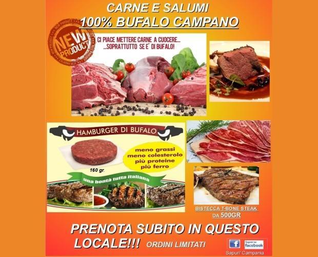 locandina bufalo. Carne di bufalo campano, la specialitá della casa.