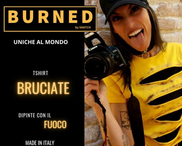Yellow Grunge. Tshirt doppio strato (gialla e sfondo nero) Cuciture sartoriali. Dipinta con fuoco