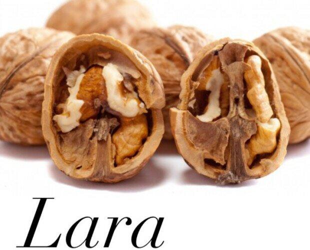 Noci qualità Lara. La varietà Lara ha un gusto dolce e delicato, non lascia alcun retrogusto amaro.