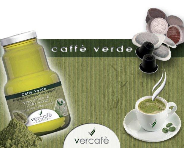 testata. Bottiglia Caffè verde, cialde e capsule