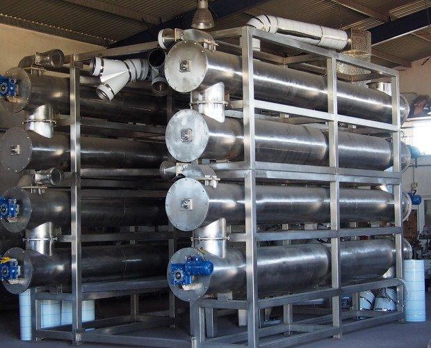 Macchine Metallurgiche.Dryer Physis in acciaio inox a 8 moduli per il trattamento di sansa di oliva.