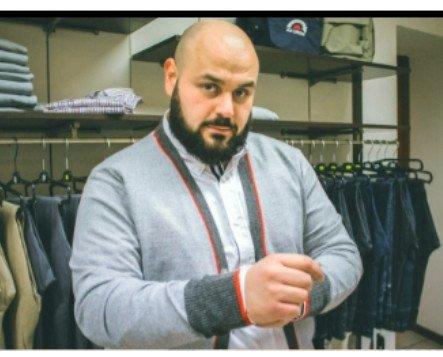 Cardigan mista lana. Cardigan uomo, misto lana con polsi in contrasto.
