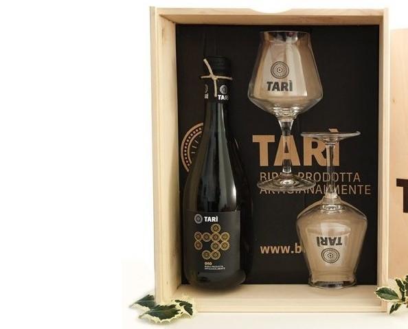 Birra Artigianale.Birra Tarì più bicchieri da degustazione.