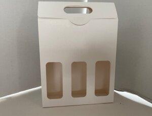 scatola tre  bottiglie birra artigianale con finestra